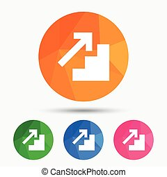 Upstairs icon. Up arrow sign. Triangular low poly button...