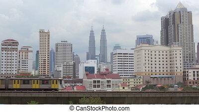 Panorama of Kuala Lumpur and moving trains, Malaysia - Kuala...