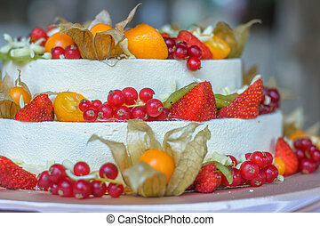 small part of the beautiful fruit wedding cake