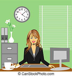 Office - A Woman in Office Sitting at De