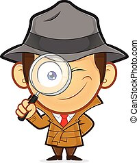Detective holding magnifying glass - Clipart picture of a...