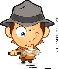 Detective investigating a footprint - Clipart picture of a...