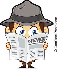Detective spying through newspaper - Clipart picture of a...