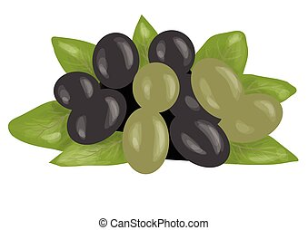 olives green and black isolated on white background