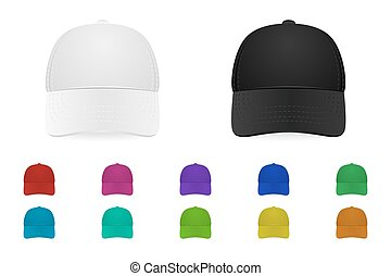 Vector baseball cap set - Set of baseball caps. Vector EPS10...