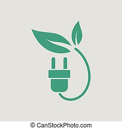 Electric plug leaves icon. Gray background with green....