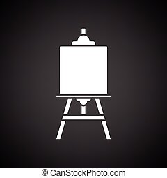 Easel icon. Black background with white. Vector...