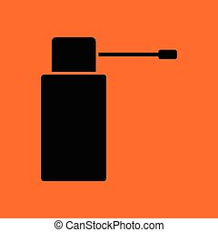 Inhalator icon. Orange background with black. Vector...