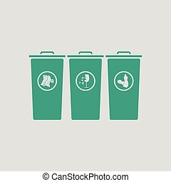 Garbage containers with separated trash icon Gray background...