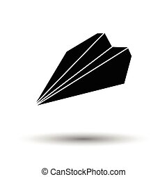 Paper plane icon. White background with shadow design....