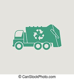 Garbage car recycle icon Gray background with green Vector...