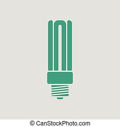 Energy saving light bulb icon. Gray background with green....