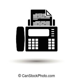 Fax icon. White background with shadow design. Vector...