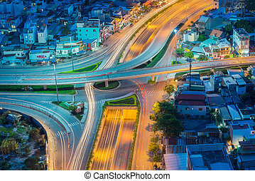 Night view at downtown of Sai Gon Cityscape - Ho Chi Minh...