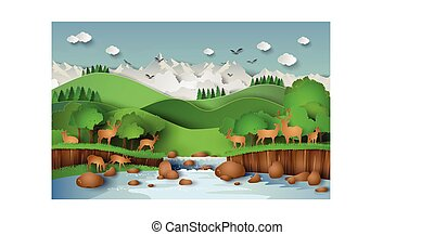 Deers in the forest - Deer in the forest with a waterfall