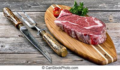 Fresh Rib Eye Steak. - Fresh grilled rib eye steak ready to...