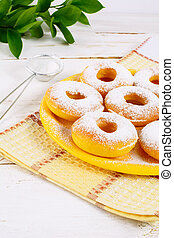 Sweet donuts with caster sugar. Hanukkah homemade donuts....