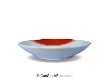 White and Red plate empty on isolated