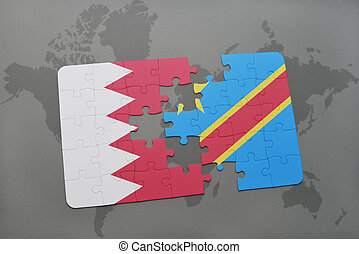 puzzle with the national flag of bahrain and democratic...