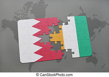 puzzle with the national flag of bahrain and cote divoire on...