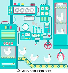 Factory of chickens - Colorful factory of chickens with...