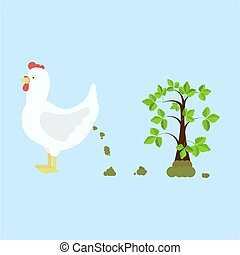 Chicken fertilizing the land - Chicken pooping and...