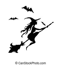 Black witch and two bats silhouette