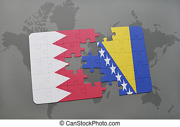 puzzle with the national flag of bahrain and bosnia and...