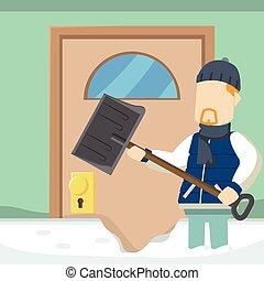 guy shoveling snowdrift in front of his door