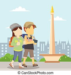 travel couple in front monas