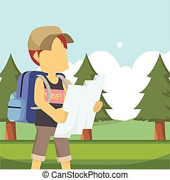 traveller using map in forest
