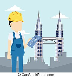 builder holding blue print in city