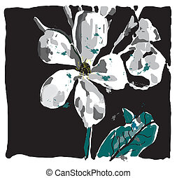 Jasmin flower watercolor, vector made only with brushes, EPS...