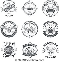 Set of Custom Car and Bike Garage Label and Badge Design...