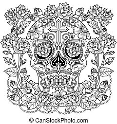 Fantastic adult coloring page, magnificent skull with roses...