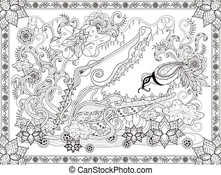Fantastic adult coloring page, crocodile and bird,...