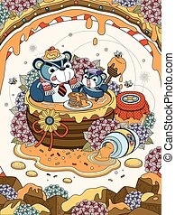 Lovely adult coloring page, foodie bear family enjoy their...