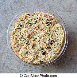 Mediterranean Orzo Salad - Looking down on a bowl of...