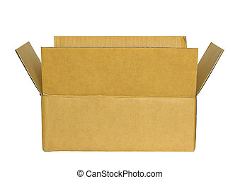 opened cardboard box isolated on white with clipping path