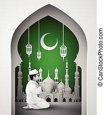 Print - Ramadan Kareem with Muslim man