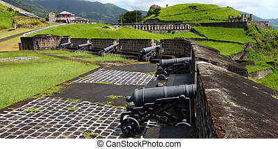 Brimstone Hill Fortress - St Kitts - Cannons line the walls...