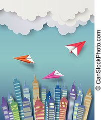Paper plane - Paper plane flying over the town