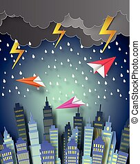 Paper plane flying over the town with raining