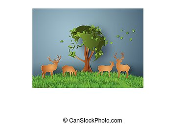 Deers in the field.with the tree world sharp