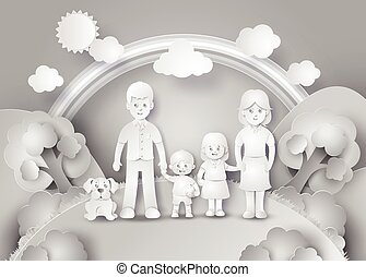 Happy family having fun .black and white paper cut style.