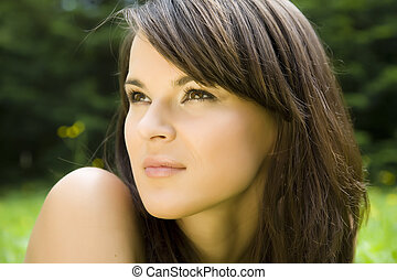 The Brunette Brown Eyes - Portrait Of A Fresh And Beautiful...