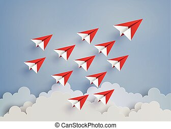 red paper plane on blue sky