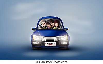 Family driving in car .