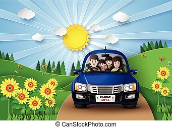 Family driving in car . - Funny family driving in car on...