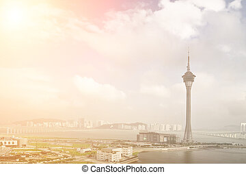 Macao cityscape - Cityscape with travel tower in Macao,...